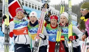 Vibeke Skofterud, Kristin Størmer Steira, Marit Bjørgen og Therese Johaug