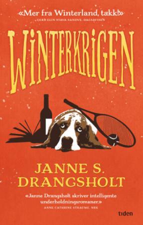 Rødt bokomslag med en basset liggende mellom en flaske vin, tennisrakett og bok.