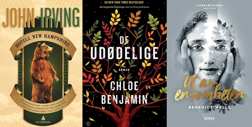 Tre bøker som likner hverandre som søsken